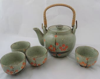Lovely Pottery Teapot with Bamboo Handle + Four Matching Cups