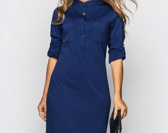 More colors! Blue dress casual wear Midi dress long sleeve Spring knee-length dress Pink dress Casual womens dress Knee Day dress royal blue