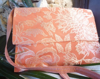 Orange satin bag pouch