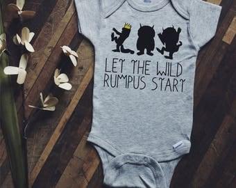 Let the wild rumpus start onesie, where the wild things are onesie, baby onesie, baby announcement, baby shower gift