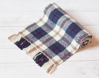 Womens Scarf, Handwoven Scarf, Neutral Scarf, Wool Scarf, Winter Accessories, Cream Scarf, Tartan Scarf, Ladies Scarf, Multi Colour Scarf