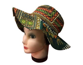 African Dashiki Fabric Hat, Flared Hat with African Fabric, Iramdesigns African Hat