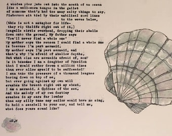 Mermaid Poem & Shell Print