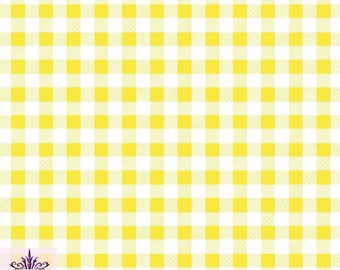 FS130_4 Yellow Gingham Print On Jersey Stretchy Scuba Fabric Checked Square Tartan