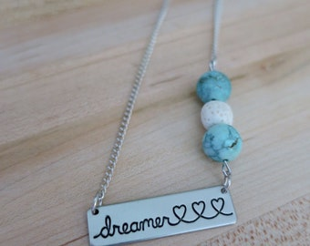 Diffuser Necklace   Kids Necklace   Aromatherapy   Essential Oil   Turquoise Necklace   Dreamer   Beaded Necklace   Handmade   Therapy