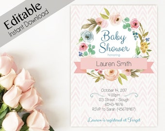 Baby Shower Invitation, Editable PDF, Instant Download, Baby Shower girl, flowers Editable Invitation Baby, Editable baby shower template
