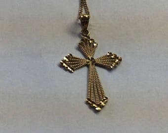10K gold cross and necklace #539