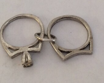 Sterling silver wedding rings charm vintage #657 s