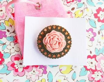 Handmade Peach Button & Flower Brooch