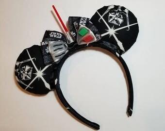 Darth Vader (GLOW IN DARK) Ears, Darth Vader Mickey Ears, Star Wars Ears, Darth Vader Minnie Ears, Star Wars Ears, Darth Vader Ears