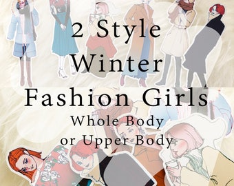 New 10% Off! Winter Fashion Girls SET, Die cut Stickers, Planner Sticker, Decor Stickers, Planning Stickers, Point Stickers