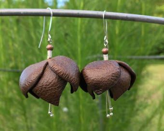 Leather Blossom Earrings