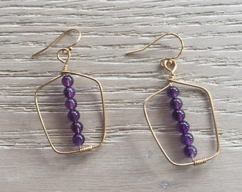 Amethyst Gemstone Earrings, Rectangular Shaped, Geometric, Rustic Elegance, Boho Chic, Beaded Earrings