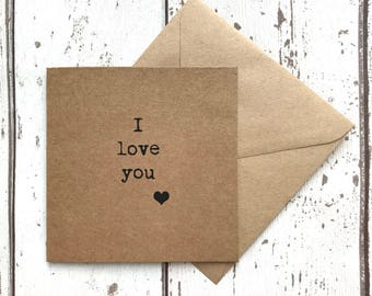 I love you card, typewriter, best friend, best friend card, valentines card, valentine card, heart card, typography, uk sellers only