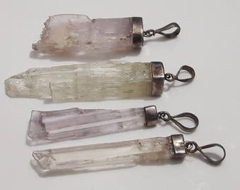 raw kunzite pendents , kunzite crystals pendents , rough kunzite , kunzite crystals  with 925 sterling silver 4 pieces