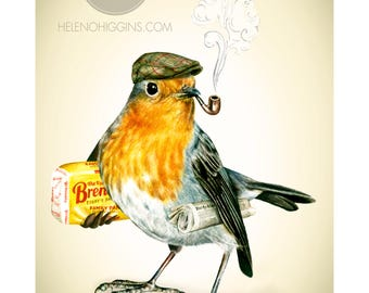 Weekend Robin - Art Print - Wall Art - Painting - Bird - Irish - Ireland - Robin
