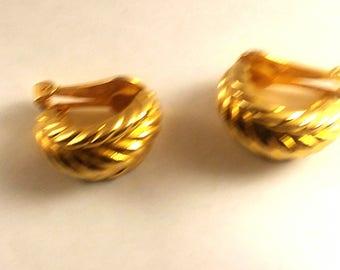 Golden Rope Clip on Earrings