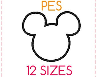 12 SIZES Mickey Mouse Applique Embroidery Design PES Format,Embroidery Designs ,Machine Embroidery,Mickey Mouse Head,Instant Download