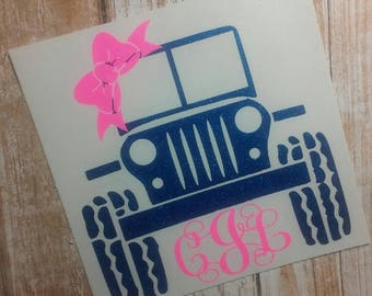 Jeep Decal/Jeep Monogram/Car Monogram/Car Decal/ Monogram/Decal/ Vinyl Decal/Jeep Wrangler Decal/Topless Jeep Decal/YETI
