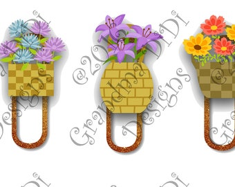 Digital Planner Clips, Flower Baskets