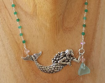 Authentic Santa Barbara Sea Glass Mermaid necklace - aquamarine