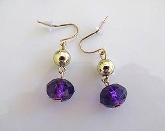 Vintage earrings purple faceted bead drop earrings dangle earrings Victorian earrings 80s earrings steampunk earrings goth earrings.