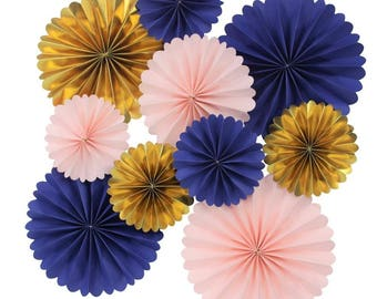 Rosettes Backdrop in Navy Baby Pink Gold Birthday Party New Year's Eve  Pack of 10