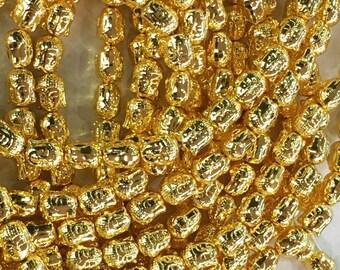 1Full Strand 10mm 24K Gold Hematite Buddha Beads ,Hematite Beads For Jewelry Making