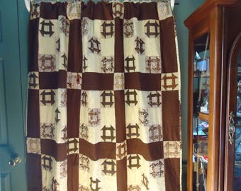 """Churn Dash Quilt      58"""" x 75""""        Brown and tan in color"""