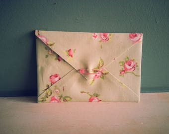Beautiful Handmade Roses Fabric Envelope with blank card insert - ideal for invitation, gift voucher, your own handmade card