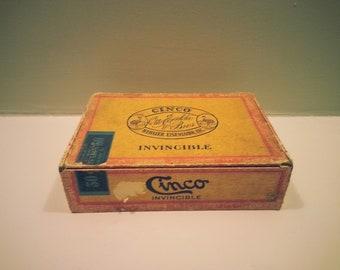 Tatty Vintage Cinco Cigar Box - great old storage box