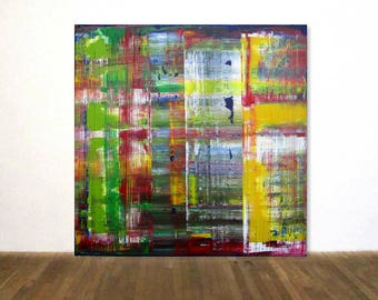 """Large Abstract Acrylic Painting Art 40""""x40"""" Hand Painted in the Technique of Gerhard Richter OOAK"""