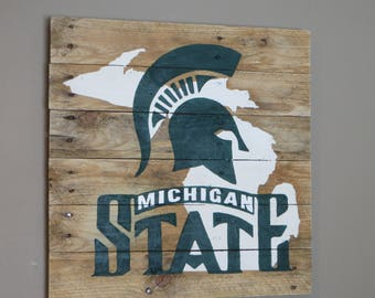 "Michigan State Pallet Wood Sign - Pallet Sign 20"" x 20"""