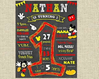 Mickey Mouse Birthday Chalkboard Poster - Wall Art design - First Birthday Poster Sign - Any Age