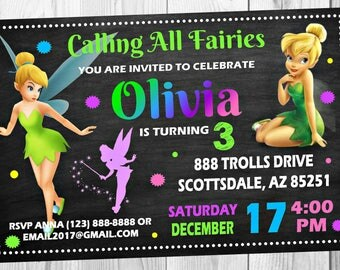 Tinkerbell Chalkboard Invitation - Disney Tinkerbell Fairy Tink Birthday Party Invitation - Birthday Party Invite - Digital - Customized