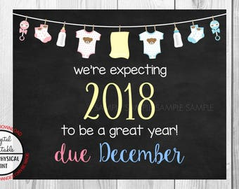 Pregnancy Announcement Sign, Pregnancy Reveal, Printable, we're expecting, Photo Prop, Instant Download, Chalkboard Sign, due December 2018