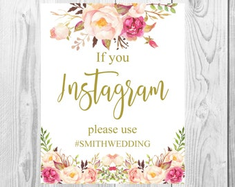Instagram Wedding Sign, Vintage Gold Floral Boho Sign, Flower Bohemian Wedding Sign, Printable, Customized, Baby Shower, Bridal Shower Sign