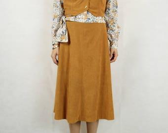 VINTAGE Arnel 1970s Three Piece Skirt Blouse Vest Set Size XS 8 10