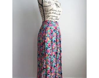 Floral midi skirt | Etsy