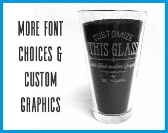 Custom Pint Glass, Laser Engraved Beer Glass, Personalized Glass, 16oz Beer Glass