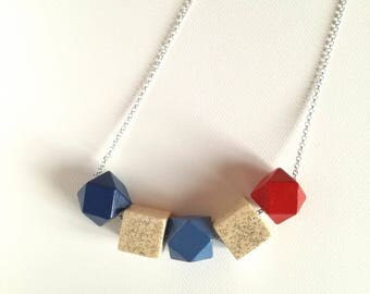 Multicolored red and blue geometric necklace with glitter