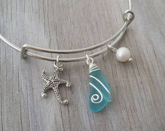 Handmade in Hawaii, wire wrapped blue sea glass bracelet, Sea glass jewelry, Starfish charm, Fresh water pearl, Hawaiian jewelry.
