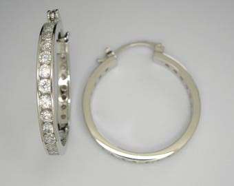 CZ Hoop earrings, Sterling silver hoop earrings