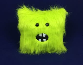 Neon Green Furry Pillow Monster Stuffed Animal Faux Fur, Bright, Fun Funky, Couch Pillow, Befroom Decor