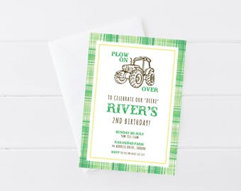 Tractor Invitation | Tractor Birthday | Farm Party | Tractor | Farm | Printable Invitation
