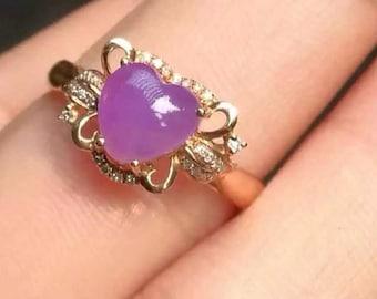 Stunning vintage hallmarked 18ct 18k rose gold and sugilite diamonds ring, UK size I