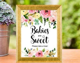 Baby Shower Favors Sign Printable, Spring Floral Boho Chic Take a Treat Sign, Baby Shower Decorations, Dessert Table Sign, C37