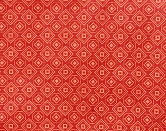 By The HALF YARD - Peach Squares, Diamonds, Hexagons and Dots on a Coral Background