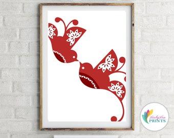 Red Folk Bird Print - Scandi Red Birds
