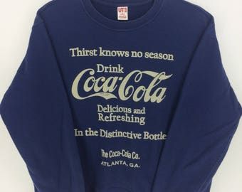 Vintage 90's Coca Cola Coke Dark Blue Bear Classic Design Skate Sweat Shirt Sweater Varsity Jacket Size M #A831